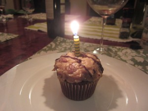 German chocolate cupcake with candle